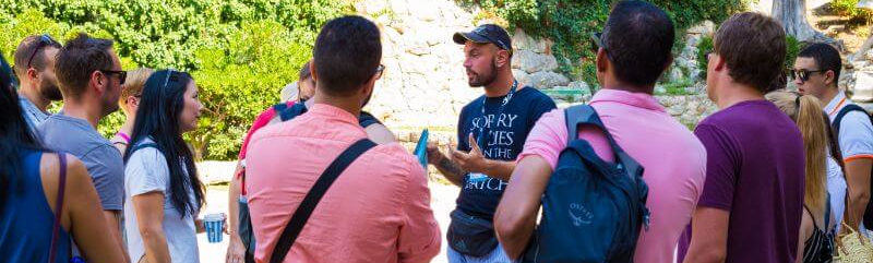 Dubrovnik Walking Tours guide Josip doing a Game of Thrones tour with a group in Old Town.
